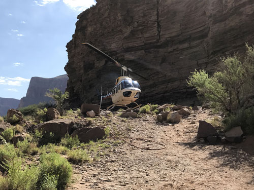 Leaving the canyon by helicopter