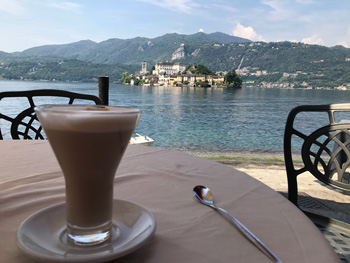 Coffee time looking out over Lake Orta