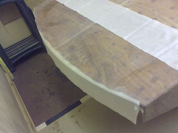 Transom sheathing held in place