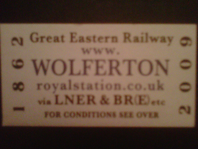 Ticket from The Royal station at Wolferton